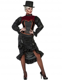 Vampir-Kostüm 18. Jahrhundert für Damen schwarz-rot-orange