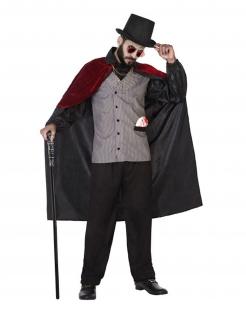 Vampir-Kostüm 18. Jahrhundert für Männer Halloween schwarz-rot