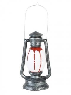 Blutverschmierte Öllampe mit Ton und Licht Halloween-Dekoration grau-rot 24cm