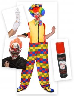 Schrecklicher Horror-Clown Halloweenkostüm-Set für Herren 7-teilig bunt