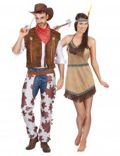 Western-Paarkostüm Cowboy und Indianerin braun
