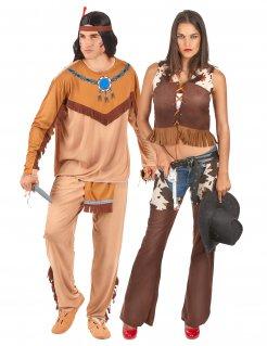 Western-Paarkostüm Indianer und Cowgirl braun