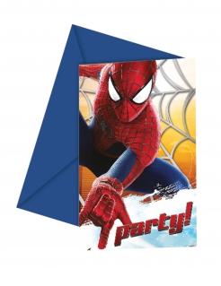 Spiderman™-Einladungskarten mit Umschlag The Amazing Spiderman™ 6 Stück blau-rot 12x12,5cm