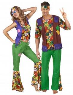 Hippie-Paarkostüm Flower-Power für Erwachsene bunt
