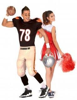 Fooball-Spieler und Cheerleader Paarkostüm für Erwachsene bunt