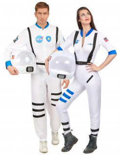 Astronaut-Paarkostüm Karneval weiss-blau