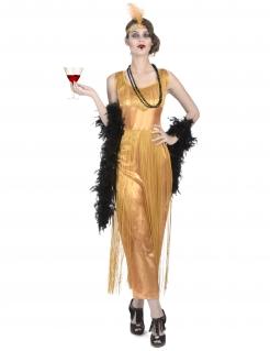 Charleston-Vampir Kostümset für Damen 7-teilig gold-schwarz
