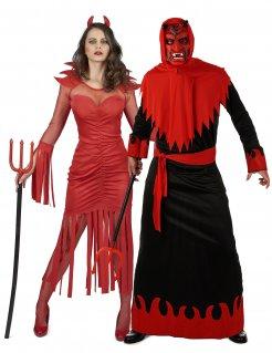 Teufel-Paarkostüm für Erwachsene Halloween-Paarkostüm rot-schwarz