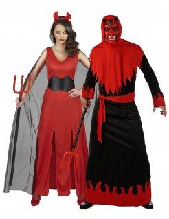 Teufel-Paarkostüm für Halloween rot-schwarz