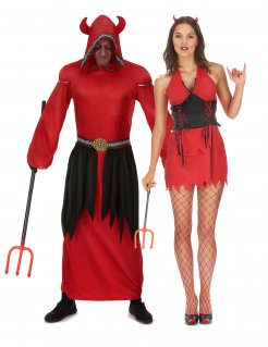 Halloween-Paarkostüm Teufel für Erwachsene rot-schwarz