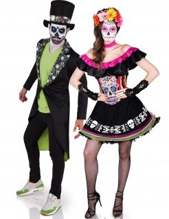 Dia de los Muertos-Paarkostüm für Erwachsene schwarz-bunt