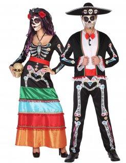 Erwachsenen-Paarkostüm für den Dia de los Muertos bunt
