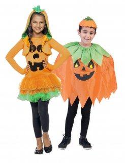 Kürbis-Paarkostüm für Kinder Halloween-Kinderkostüme orange-grün