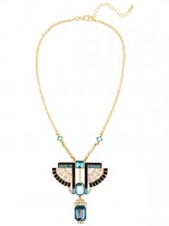 Pharaonen-Halskette für Damen blau-schwarz-goldfarben