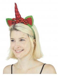Weihnachts-Einhorn Einhorn-Haarreif Weichnachten rot-grün