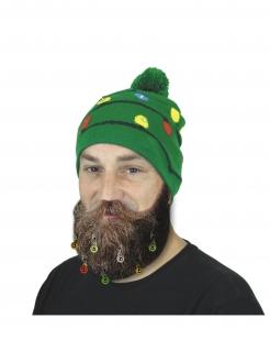 Beanie Mütze Weihnachtsmütze mit Girlande und Bommel grün