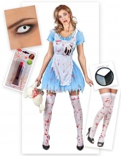 Kostüm-Set Horror-Alice für Damen Halloween 5-teilig blau-weiss-rot