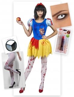 Zombie-Prinzessin Kostümset Halloween 5-teilig blau-gelb