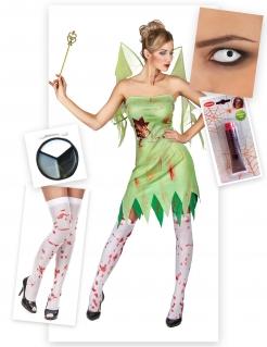 Blutige Zombie-Fee Damenkostümset Halloween 5-teilig grün-weiss