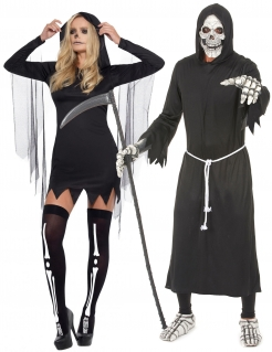 Sensenmann-Paarkostüm Halloween schwarz-weiss