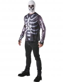 Skull Trooper-Kostüm für Herren Fortnite™ Faschingskostüm schwarz-weiss
