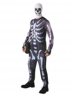 Fortnite™ Skull Trooper-Kostüm für Herren Faschingskostüm schwarz-weiss