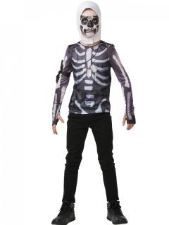 Fortnite™ Skull Trooper-Kostüm für Jugendliche Faschingskostüm schwarz-weiss