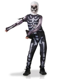 Fortnite™ Skull Trooper-Kostüm für Kinder Faschingskostüm schwarz-weiss