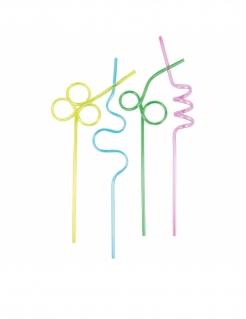 Wiederverwendbare Strohhalme in verschiedenen Formen 4 Stück bunt