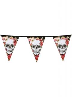 Totenkopf-Girlande Halloween-Dekoration bunt 6m