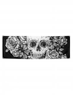 Tag der Toten-Flagge Wanddekoration Halloween schwarz-weiss 74x220cm