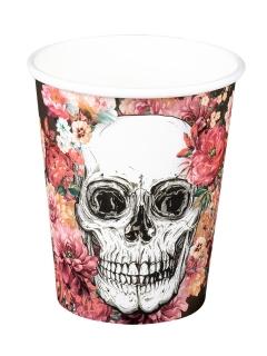 Totenkopf-Pappbecher Halloween-Dekoration 6 Stück bunt