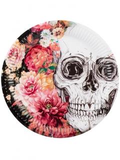 Pappteller Sugar Skull Skelett 6 Stück Halloween-Dekoration bunt 23cm