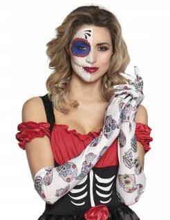 Dia De Los Muertos lange Handschuhe für Damen weiß-bunt