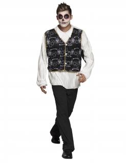 Día de los Muertos-Kostüm für Herren Halloween schwarz-weiss