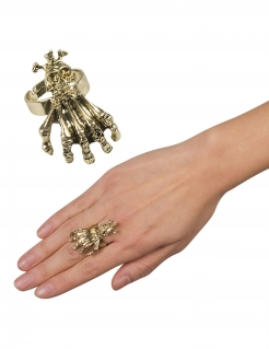 Totenkopf-Ring mit Klaue gold