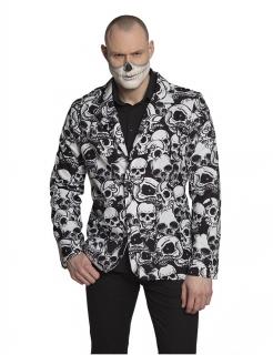 Totenkopf-Jacke für Männer Halloween-Kostümzubehör schwarz-weiss