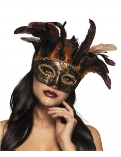 Venezianische Feder-Augenmaske Halloween-Accessoire schwarz-gold-orange