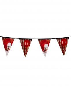 Horrorclown-Girlande Halloween-Dekoration rot-weiss-schwarz 30x600cm