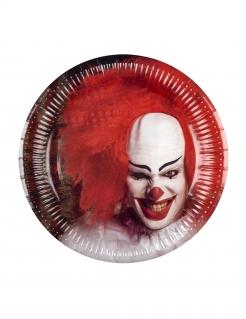 Horrorclown-Pappteller Tischdekoration Halloween 6 Stück rot-weiss 23cm