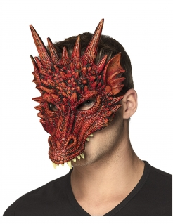Drachenmaske Halloween-Maske rot-schwarz