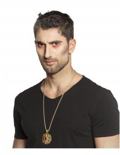 Vampir-Halskette mit Anhänger gold-rot