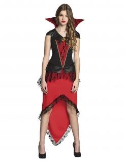 Vampir-Kostüm für Jugendliche Halloween-Kostüm schwarz-rot
