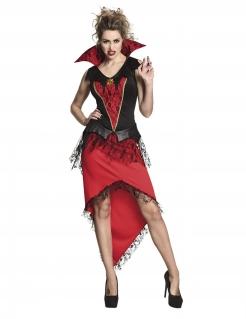 Vampirkönigin-Kostüm für Damen Halloween schwarz-rot