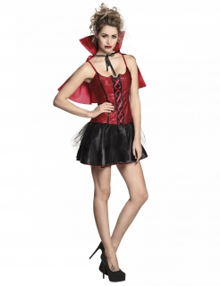 Sexy Vampirin-Kostüm für Damen Halloween rot-schwarz