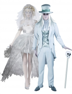 Geister-Brautpaar-Paarkostüm Halloween grau-weiss