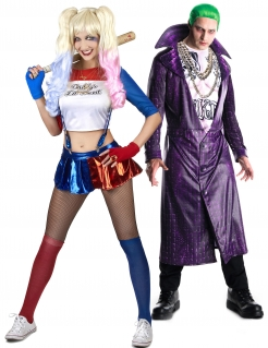 Harley Quinn™ und Joker™-Paarkostüm Fasching bunt