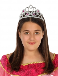 Traumhaftes Prinzessinnen Diadem für Mädchen Kostümaccessoire silber-rosa