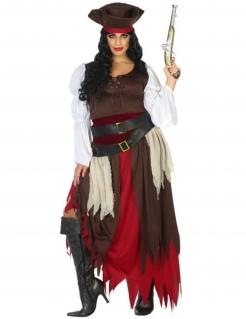 Piraten-Kostüm für Damen Übergröße Faschingskostüm braun-rot