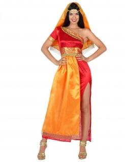 Bollywood-Damenkostüm Inderin-Kostüm rot-gold